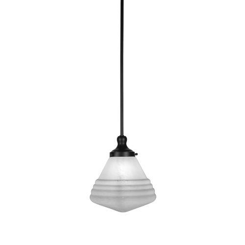Juno Matte Black One-Light Mini Pendant with White Marble Glass Shade