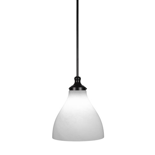 Juno Matte Black One-Light 14-Inch Stem Hung Pendant with White Marble Glass