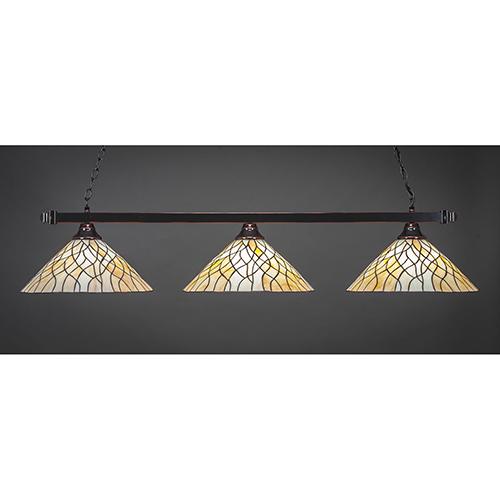 Square Black Copper 16-Inch Three-Light Island Pendant with Sandhill Tiffany Glass