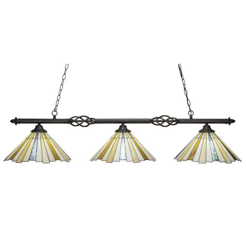 Elegante Dark Granite 56-Inch Three-Light Island Chandelier