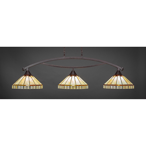 Bow Dark Granite 15-Inch Three-Light Island Pendant with Honey and Brown Mission Glass