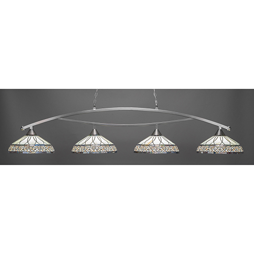 Bow Brushed Nickel 16-Inch Four-Light Island Pendant with Royal Merlot Tiffany Glass
