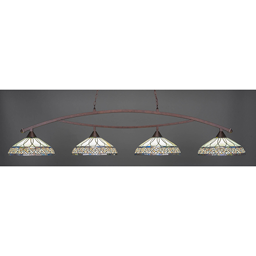 Bow Bronze 16-Inch Four-Light Island Pendant with Royal Merlot Tiffany Glass