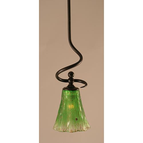 Capri Dark Granite 16-Inch One-Light Pendant with Kiwi Green Crystal Glass