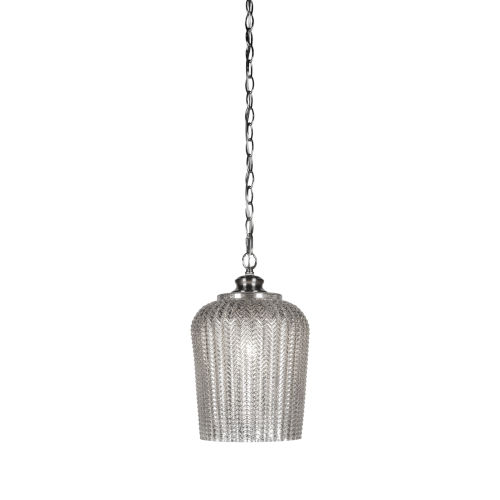 Cordova Brushed Nickel One-Light Mini Pendant with Silver Textured Glass Shade