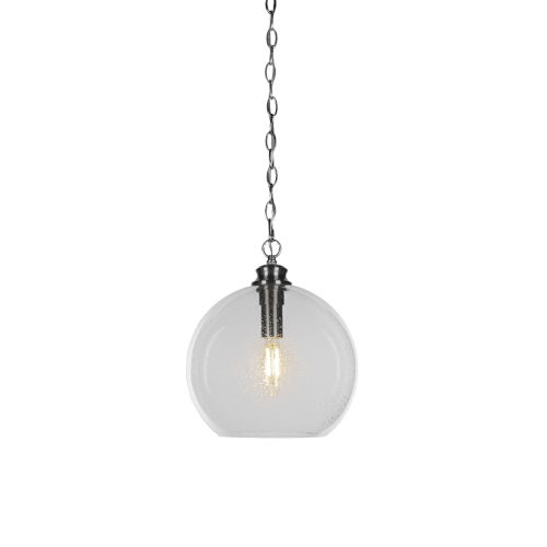Kimbro Brushed Nickel One-Light Pendant with Clear Bubble Glass Shade