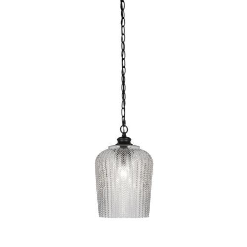 Cordova Matte Black One-Light Mini Pendant with Clear Textured Glass Shade