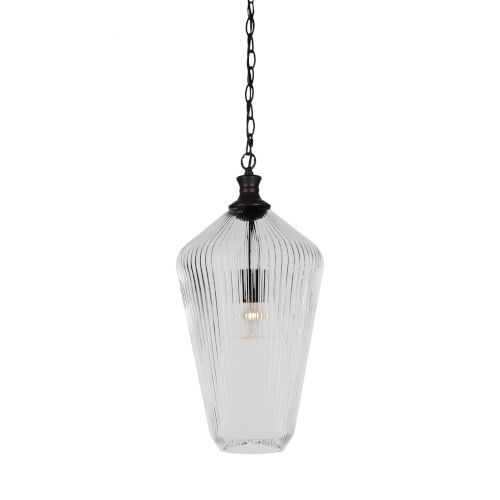 Carina Matte Black 10-Inch One-Light Pendant with Clear Ribbed Glass Shade