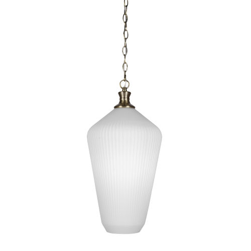 Carina New Age Brass One-Light Pendant with Opal Frosted Glass Shade