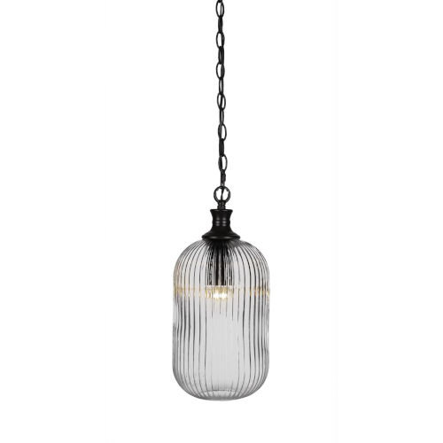 Carina Matte Black One-Light 17-Inch Chain Hung Mini Pendant with Clear Ribbed Glass
