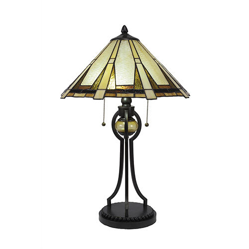 Any Dark Granite 16-Inch Two-Light Table Lamp with Zion Tiffany