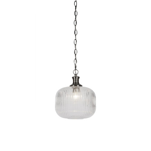 Carina Brushed Nickel 10-Inch One-Light Mini Pendant with Clear Ribbed Glass Shade