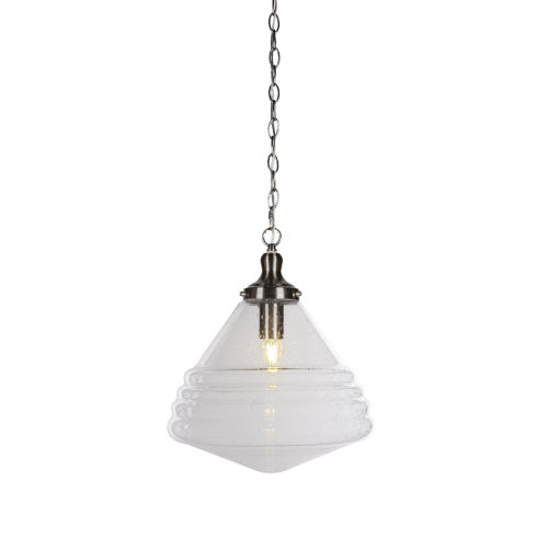 Juno Brushed Nickel One-Light Pendant with Clear Bubble Glass Shade