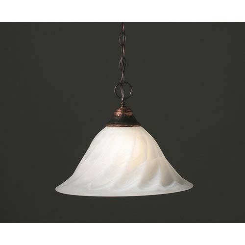 Toltec Lighting Black Copper Pendant with 14-Inch Alabaster Swirl Glass