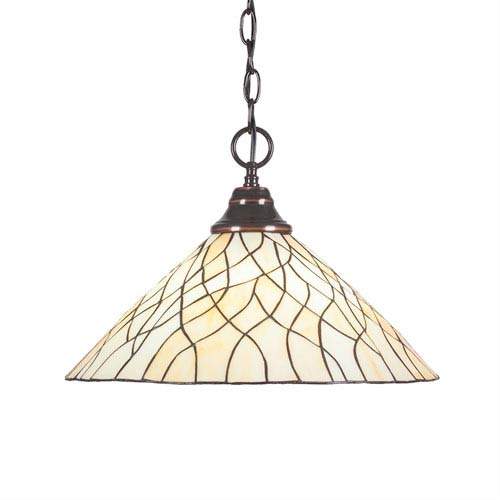 Any Black Copper One-Light Pendant with Sandhill Tiffany Glass