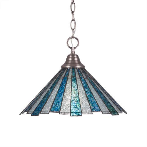 Toltec Lighting Any Brushed Nickel One-Light Pendant with Sea Ice Tiffany Glass