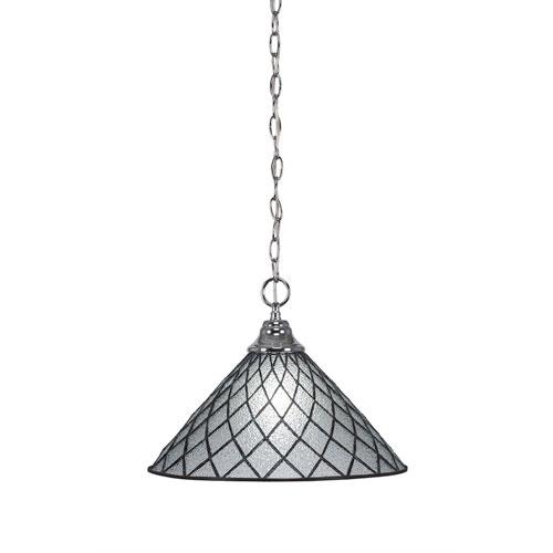 Chrome One-Light Pendant with Diamond Ice Tiffany Glass