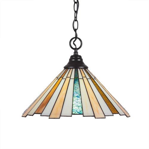 Toltec Lighting Any Matte Black One-Light Pendant with Sequoia Tiffany Glass