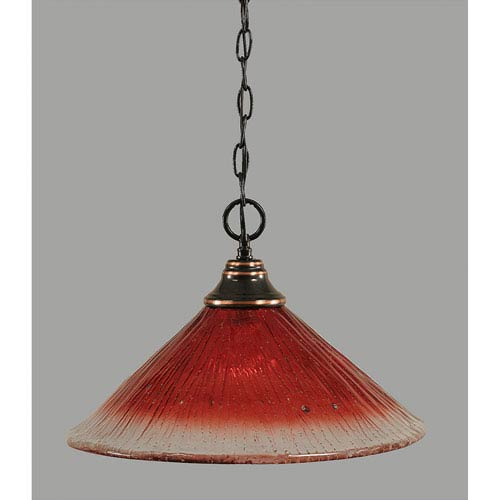 Toltec Lighting Black Copper One-Light Pendant with Raspberry Crystal Glass
