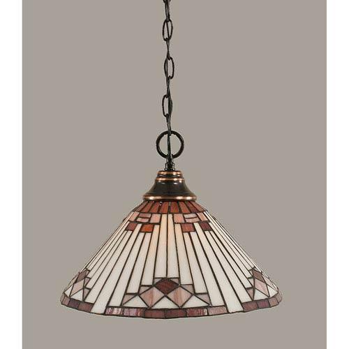 Toltec Lighting Black Copper Pendant with 16-Inch Purple Sunray Tiffany Glass