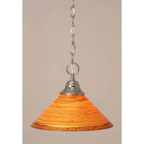 Chrome Chain Hung Pendant with FirrT Saturn Glass
