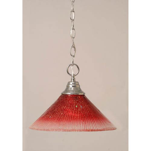 Chrome Chain Hung Pendant with Raspberry Crystal Glass