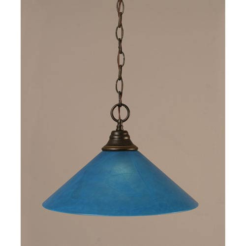 Dark Granite Chain Hung Pendant with Blue Italian Glass