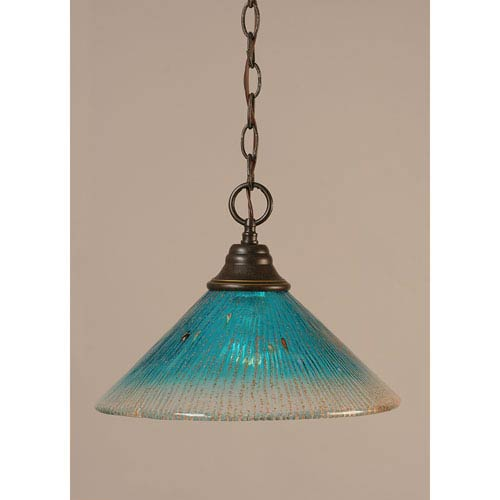 Dark Granite Chain Hung Pendant with Teal Crystal Glass