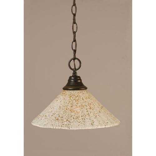 Dark Granite Chain Hung Pendant with Gold Ice Glass
