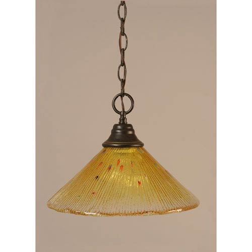Dark Granite Chain Hung Pendant with Gold Champagne Crystal Glass