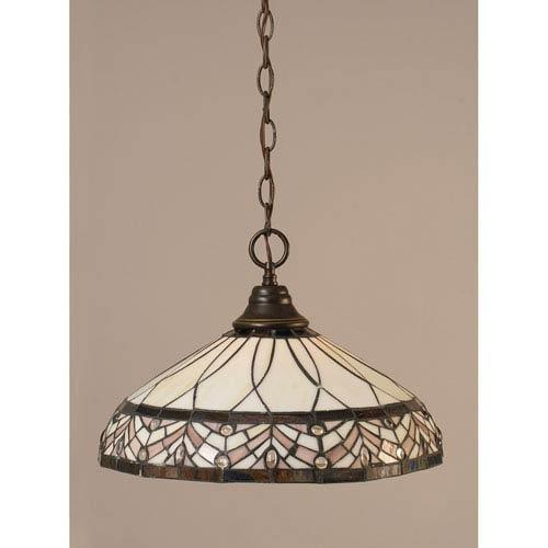 Dark Granite Chain Hung Pendant with Royal Merlot Tiffany Glass