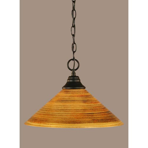 Toltec Lighting Matte Black 16-Inch One Light Chain Hung Pendant with Firre Saturn Glass