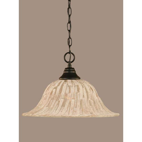 Toltec Lighting Matte Black 16-Inch One Light Chain Hung Pendant with Italian Ice Glass