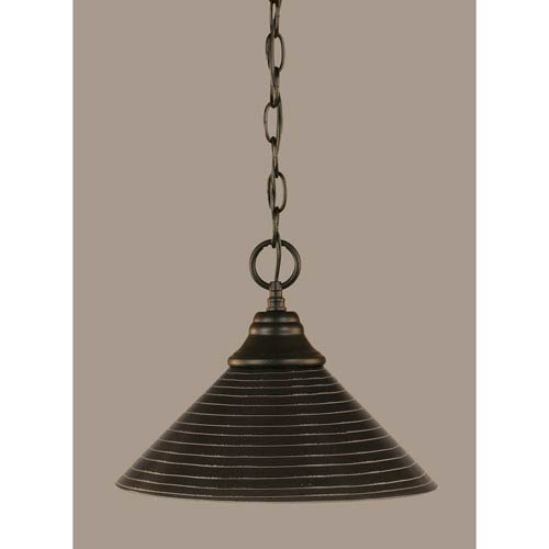 Toltec Lighting Matte Black 12-Inch One Light Chain Hung Pendant with Charcoal Spiral Glass