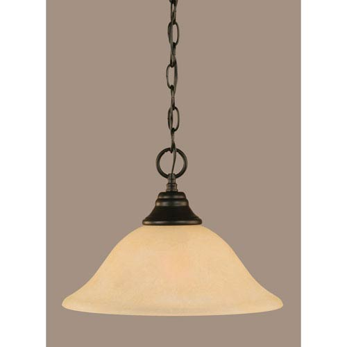 Toltec Lighting Matte Black 12-Inch One Light Chain Hung Pendant with Amber Marble Glass