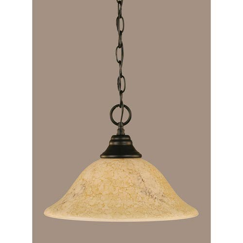 Toltec Lighting Matte Black 12-Inch One Light Chain Hung Pendant with Italian Marble Glass