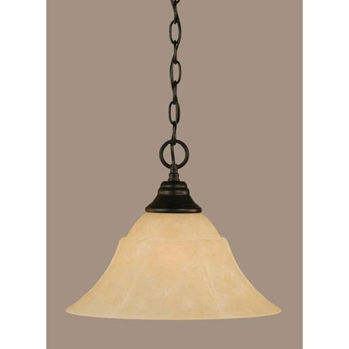 Toltec Lighting Matte Black 14-Inch One Light Chain Hung Pendant with Amber Marble Glass