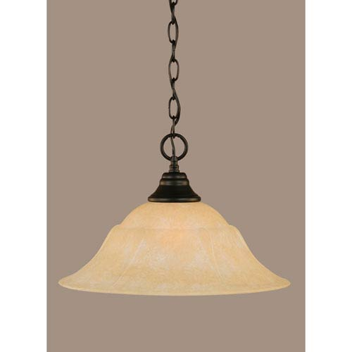 Toltec Lighting Matte Black 16-Inch One Light Chain Hung Pendant with Amber Marble Glass