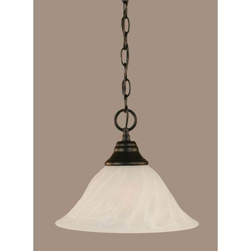 Toltec Lighting Matte Black 12-Inch One Light Chain Hung Pendant with White Alabaster Swirl Glass