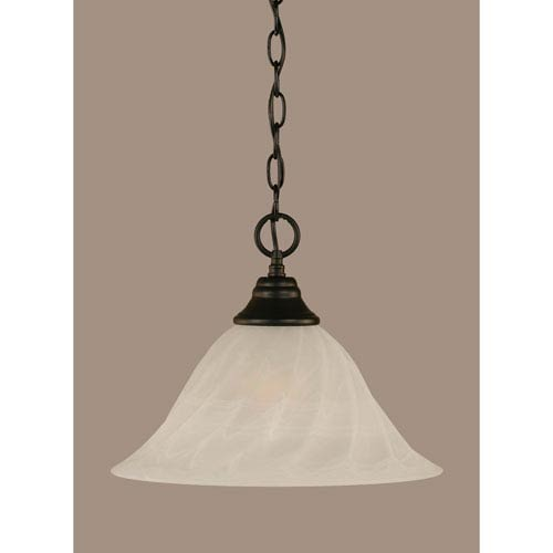 Toltec Lighting Matte Black 14-Inch One Light Chain Hung Pendant with White Alabaster Swirl Glass