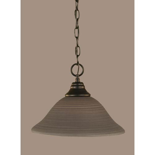 Toltec Lighting Matte Black 12-Inch One Light Chain Hung Pendant with Gray Linen Glass