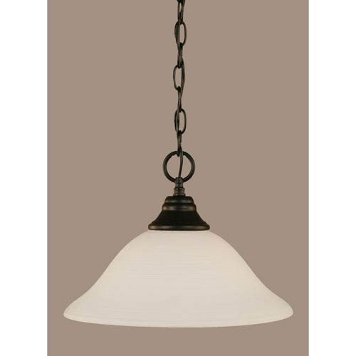 Toltec Lighting Matte Black 12-Inch One Light Chain Hung Pendant with White Linen Glass