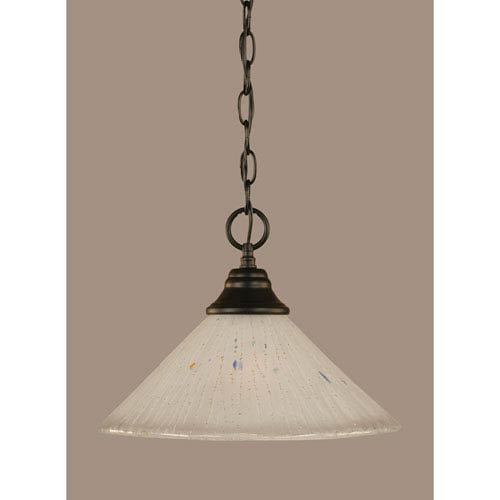 Toltec Lighting Matte Black 12-Inch One Light Chain Hung Pendant with Frosted Crystal Glass