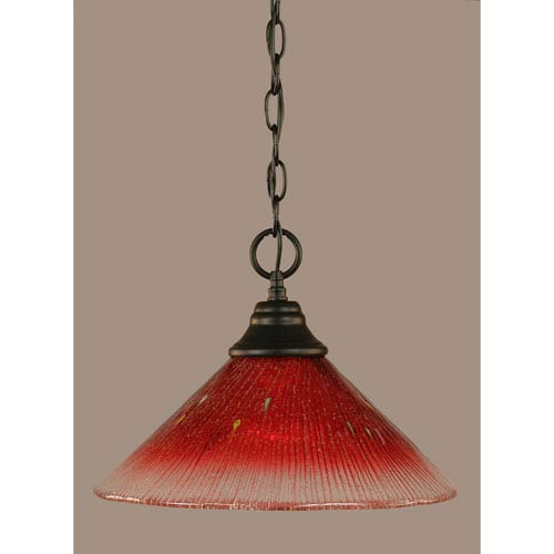 Toltec Lighting Matte Black 12-Inch One Light Chain Hung Pendant with Raspberry Crystal Glass