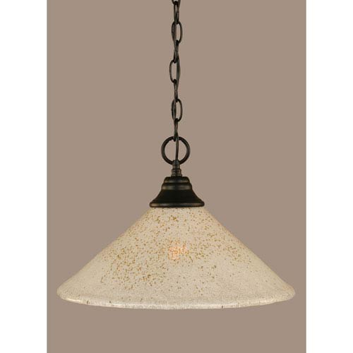 Toltec Lighting Matte Black 16-Inch One Light Chain Hung Pendant with Gold Ice Glass