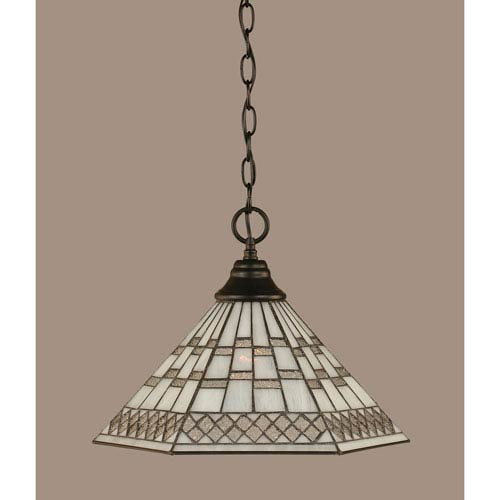 Toltec Lighting Matte Black 16-Inch One Light Chain Hung Pendant with Pewter Tiffany Glass