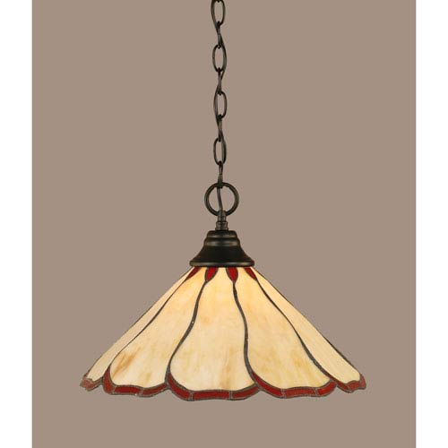 Toltec Lighting Matte Black 16-Inch One Light Chain Hung Pendant with Honey/Burgunday Flair Tiffany Glass