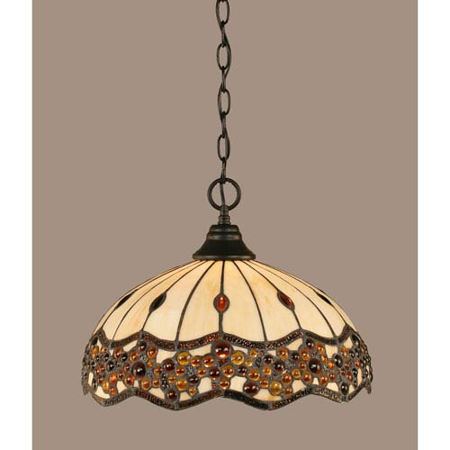 Toltec Lighting Matte Black 16-Inch One Light Chain Hung Pendant with Roamn Jewel Tiffany Glass