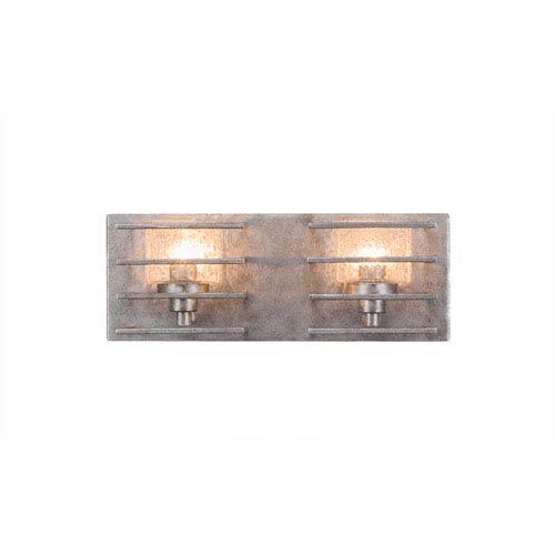 Sky Loft Aged Silver Two-Light 14-Inch Bath Bar