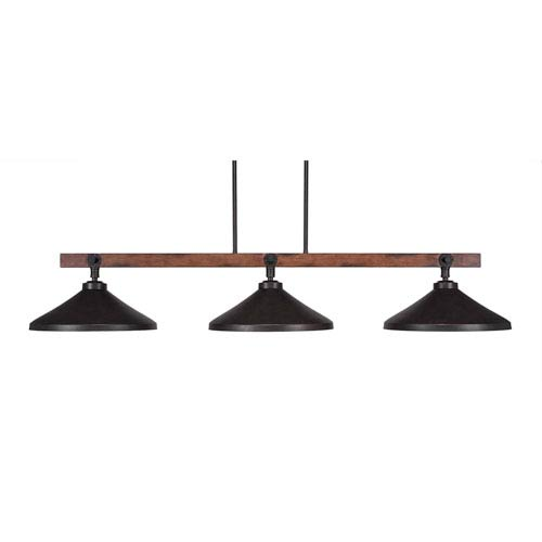Portland Oil Rubbed Bronze Three-Light Island Pendant with Dark Granite Metal Shades